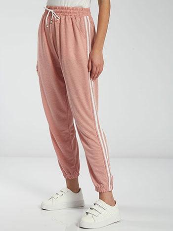 Φόρμα με πλαϊνές ρίγες, ελαστική μέση, με τσέπες, εσωτερικό κορδόνι, ροζ