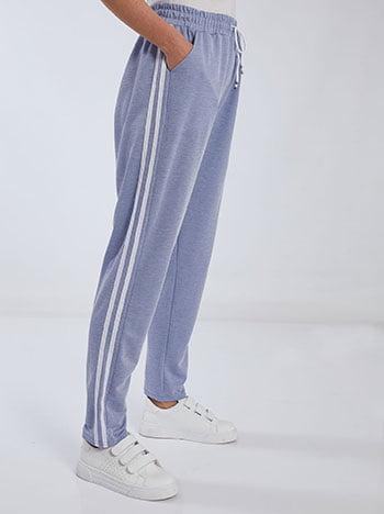 Παντελόνι φόρμας με πλαϊνές ρίγες, ελαστική μέση, εσωτερικό κορδόνι, ύφασμα με ελαστικότητα, μπλε ραφ
