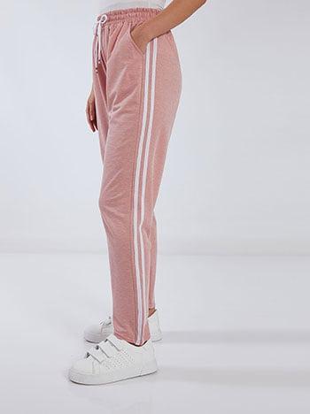 Παντελόνι φόρμας με πλαϊνές ρίγες, ελαστική μέση, εσωτερικό κορδόνι, ύφασμα με ελαστικότητα, ροζ