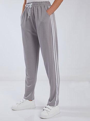 Παντελόνι φόρμας με πλαϊνές ρίγες, ελαστική μέση, εσωτερικό κορδόνι, ύφασμα με ελαστικότητα, γκρι