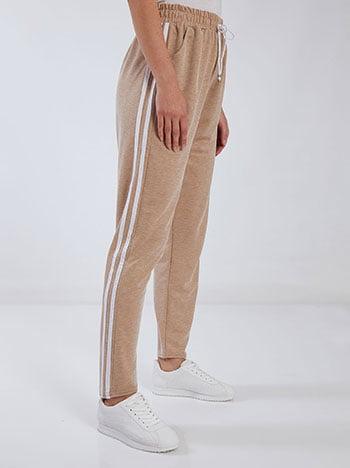 Παντελόνι φόρμας με πλαϊνές ρίγες, ελαστική μέση, εσωτερικό κορδόνι, ύφασμα με ελαστικότητα, καφε ανοιχτο