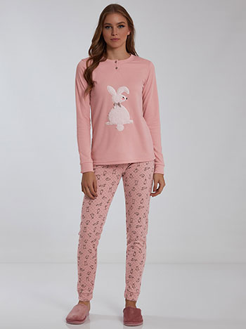 Σετ πιτζάμας με κουνέλι, στρογγυλή λαιμόκοψη, ελαστική μέση, fleece επένδυση, ροζ