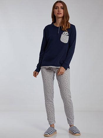 Σετ πιτζάμας με panda, με τσέπη, ελαστική μέση, fleece επένδυση, σκουρο μπλε