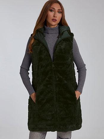 Γιλέκο διπλής όψης, κλείσιμο με φερμουάρ, με τσέπες, με αποσπώμενη κουκούλα, συνθετική γούνα, πρασινο σκουρο