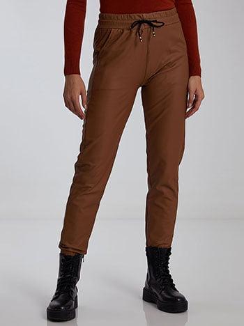 Παντελόνι δερματίνης, ελαστική μέση, με τσέπες, εσωτερικό κορδόνι, καμηλο