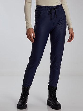 Παντελόνι δερματίνης, ελαστική μέση, με τσέπες, εσωτερικό κορδόνι, σκουρο μπλε