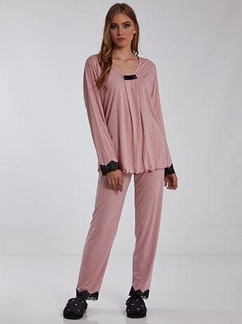 Πουά σετ πιτζάμας, ελαστική μέση, ύφασμα με ελαστικότητα, ροζ