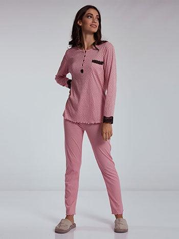 Σετ πιτζάμας με πουά, στρογγυλή λαιμόκοψη, ριπ, ελαστική μέση, ροζ