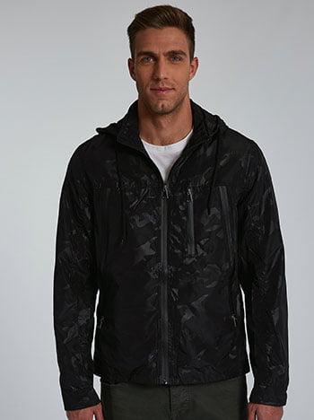 Αντιανεμικό ανδρικό μπουφάν, με κουκούλα, με τσέπες, κλείσιμο με φερμουάρ, μαυρο