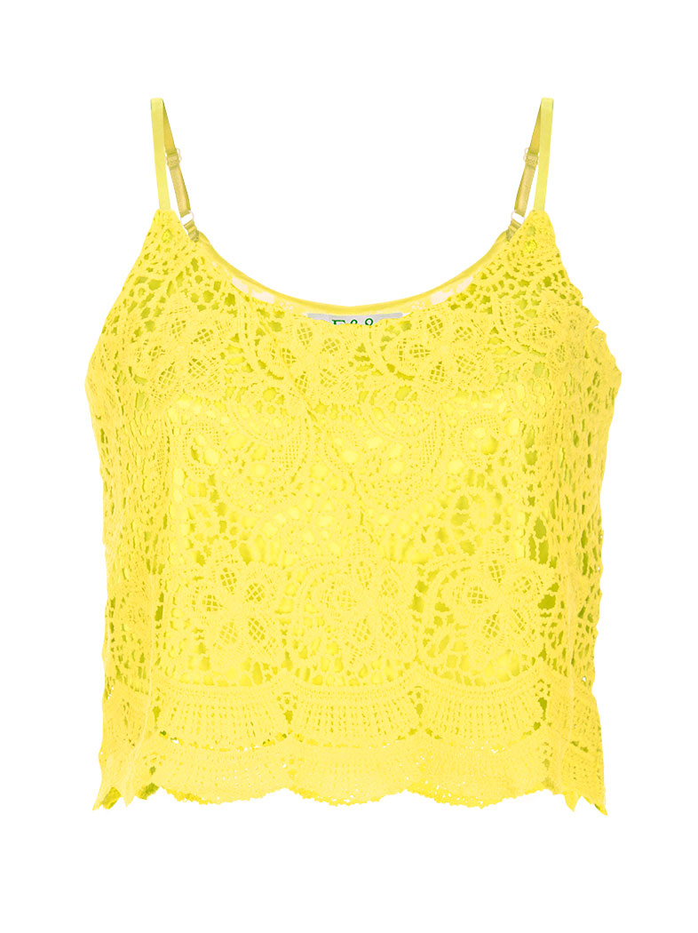 e45632480f8e Crop top με δαντέλα guipure σε κιτρινο