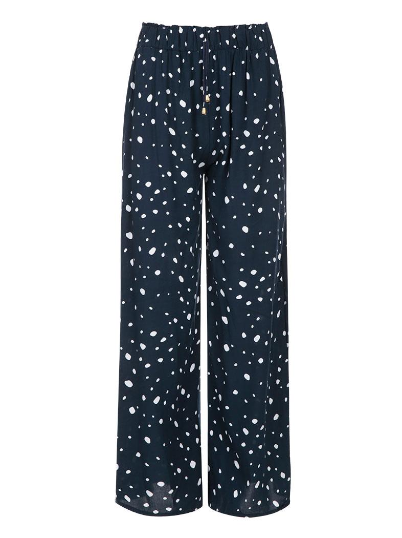 122fa11c5148 Πουά παντελόνα με ελαστική μέση σε σκουρο μπλε