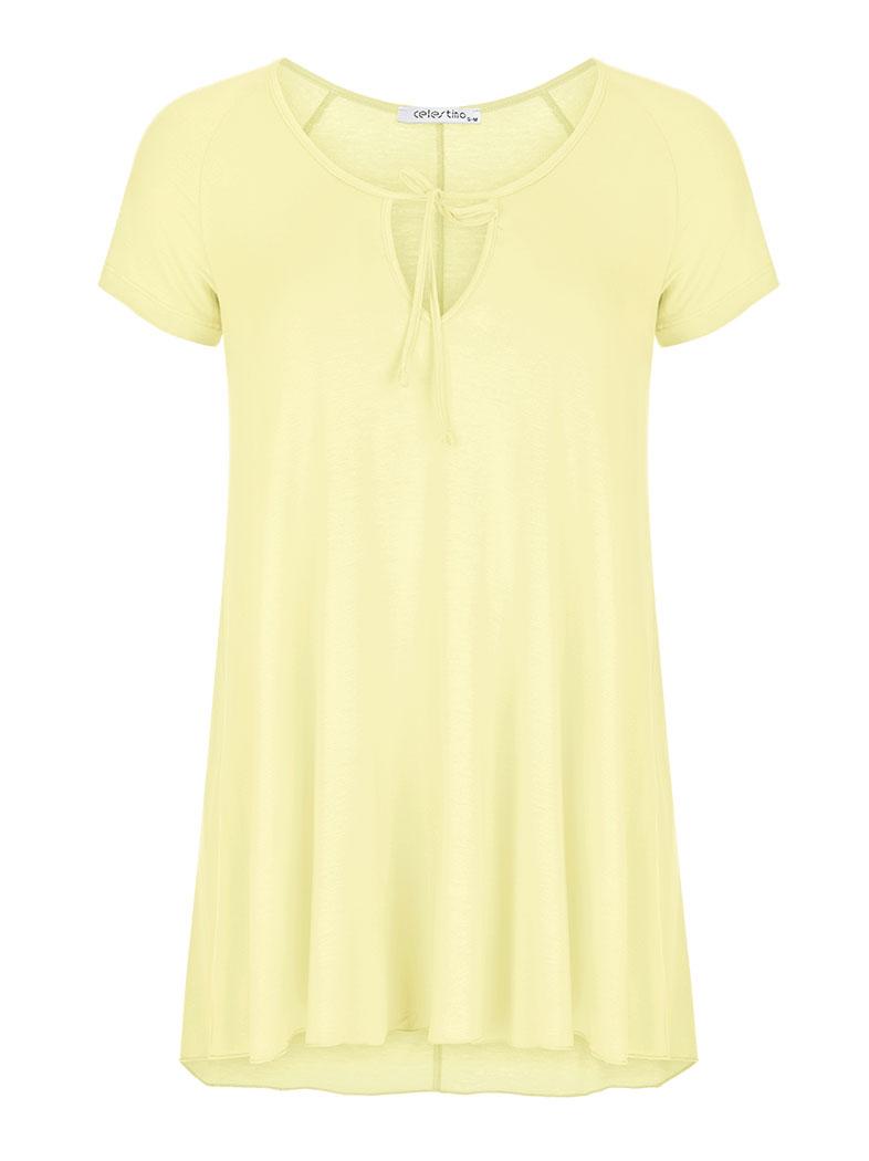 082b9c33715d Μπλούζα με κορδόνι στο ντεκολτέ σε κιτρινο ανοιχτο