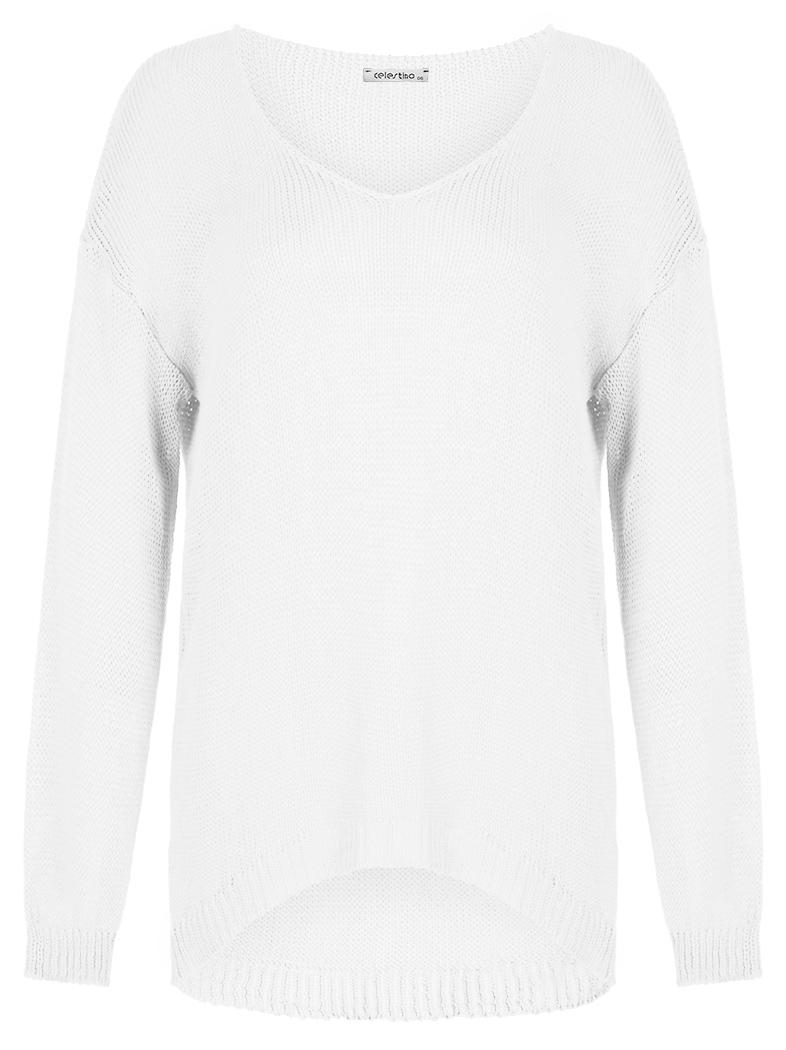 156fea80b09c Πλεκτή μπλούζα από βισκόζη με αραιή πλέξη σε λευκο