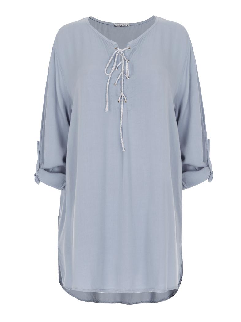 030b8642348f Φαρδιά lyocell μπλούζα με χιαστί δέσιμο στο ντεκολτέ σε γαλαζιο