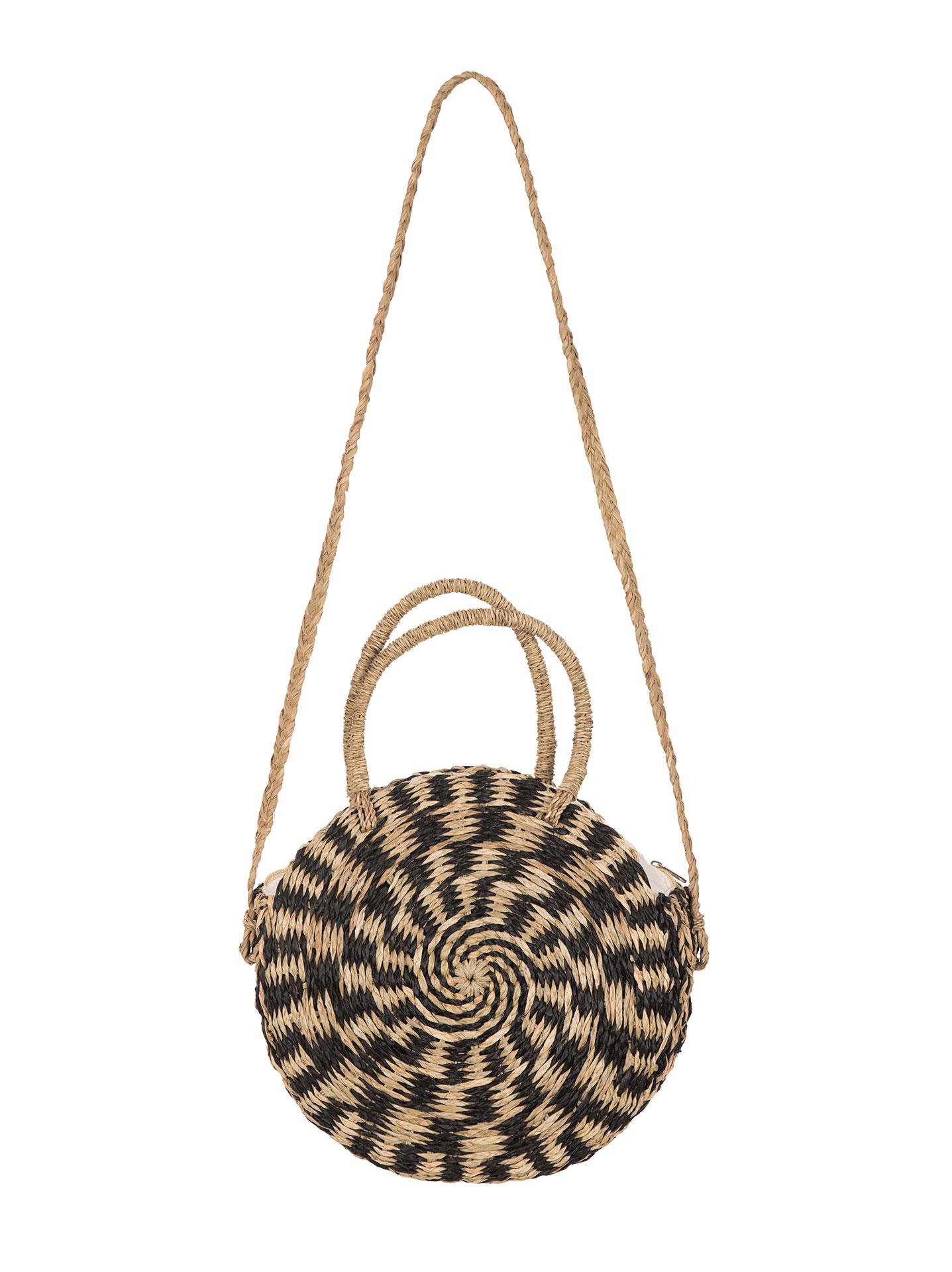 e81093f90a5 Δίχρωμη στρογγυλή ψάθινη τσάντα σε μαυρο, 29,95€   Celestino