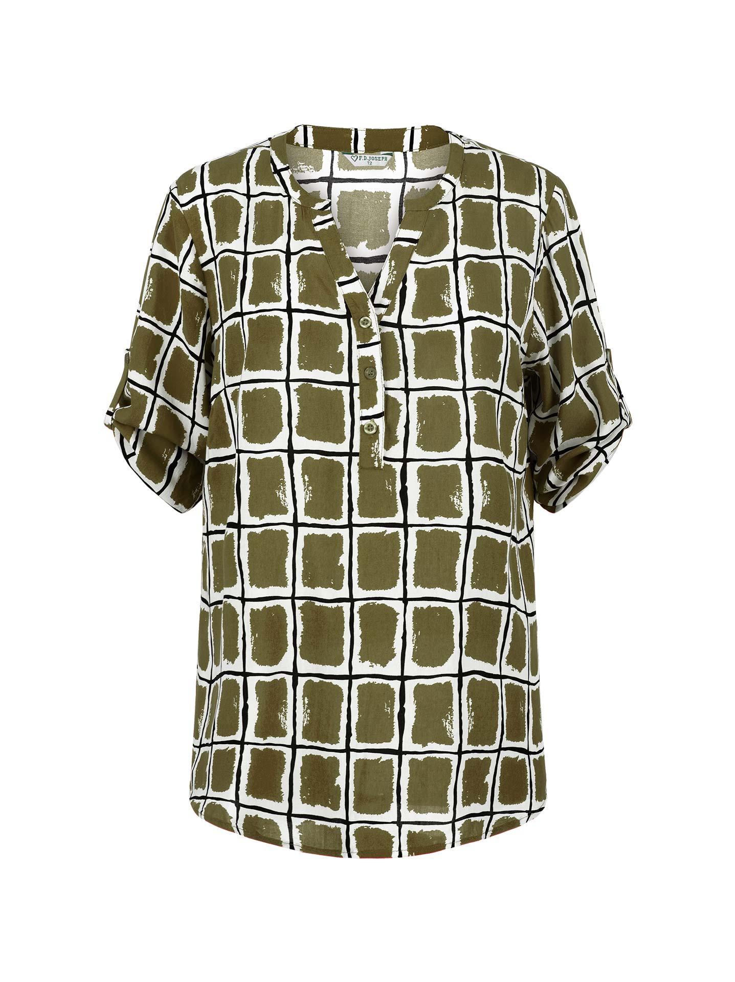 6df817680f36 Εμπριμέ μπλούζα σε χακι