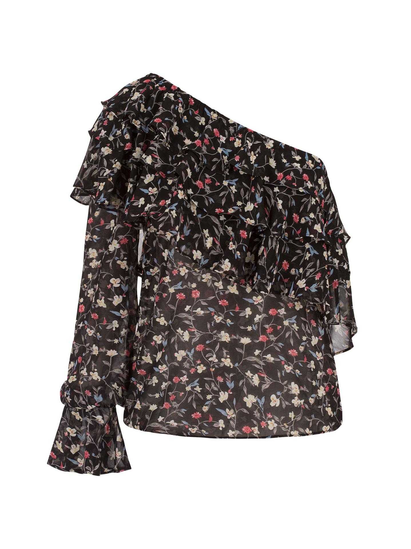 4c704e7f5366 Floral μπλούζα με έναν ώμο σε μαυρο