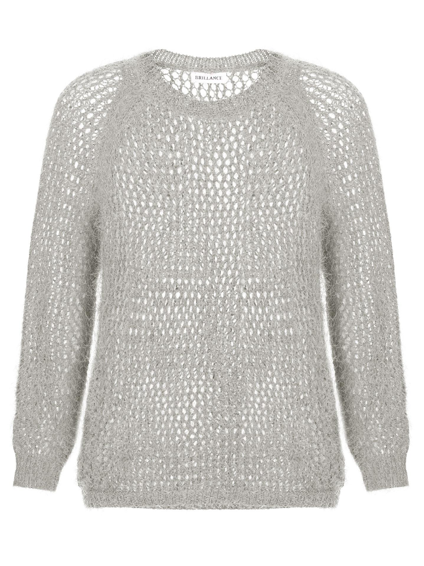 b9ab6e696a75 Χνουδωτό πουλόβερ σε χαλαρή πλέξη σε γκρι