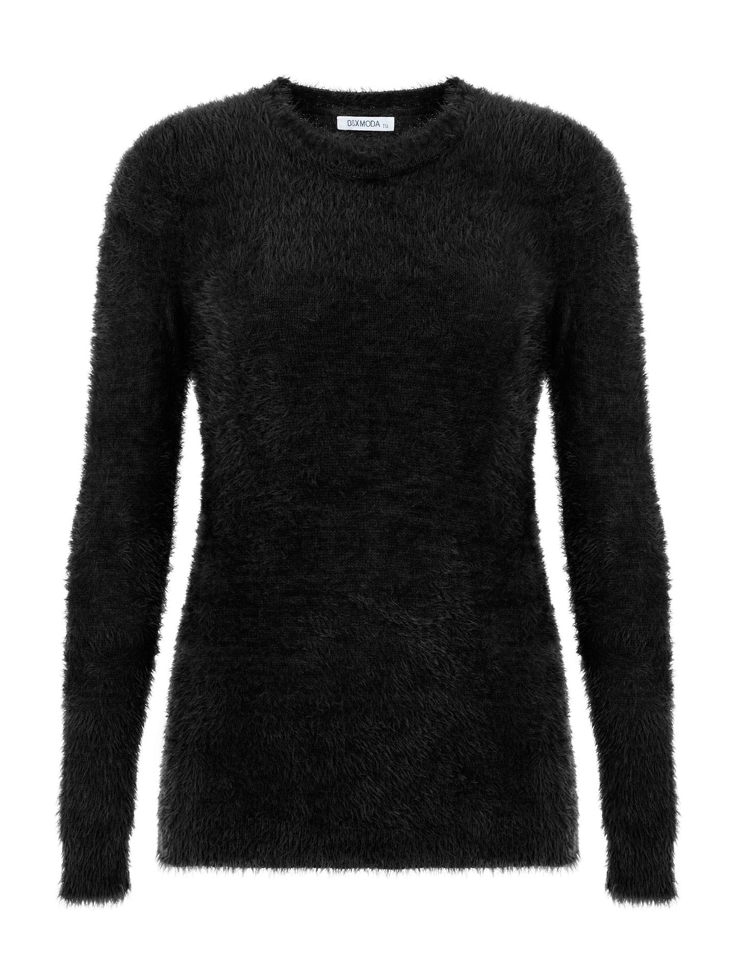 e5367b750f14 Χνουδωτό πουλόβερ σε μαυρο
