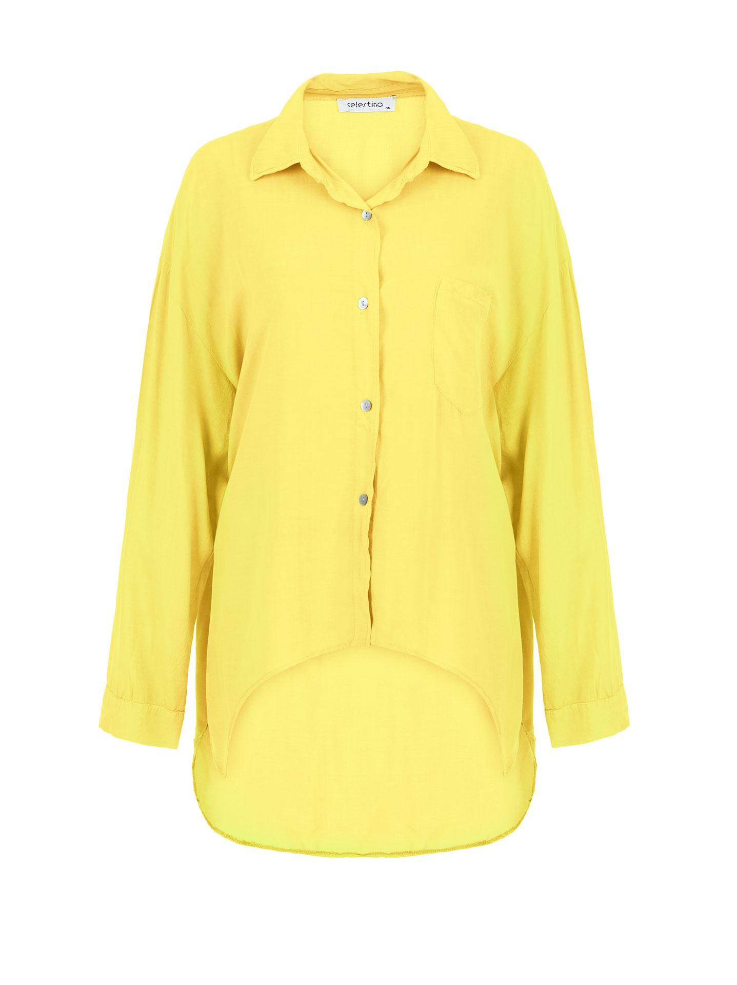 f3702ab72e88 Ασύμμετρο πουκάμισο από βαμβάκι σε κιτρινο