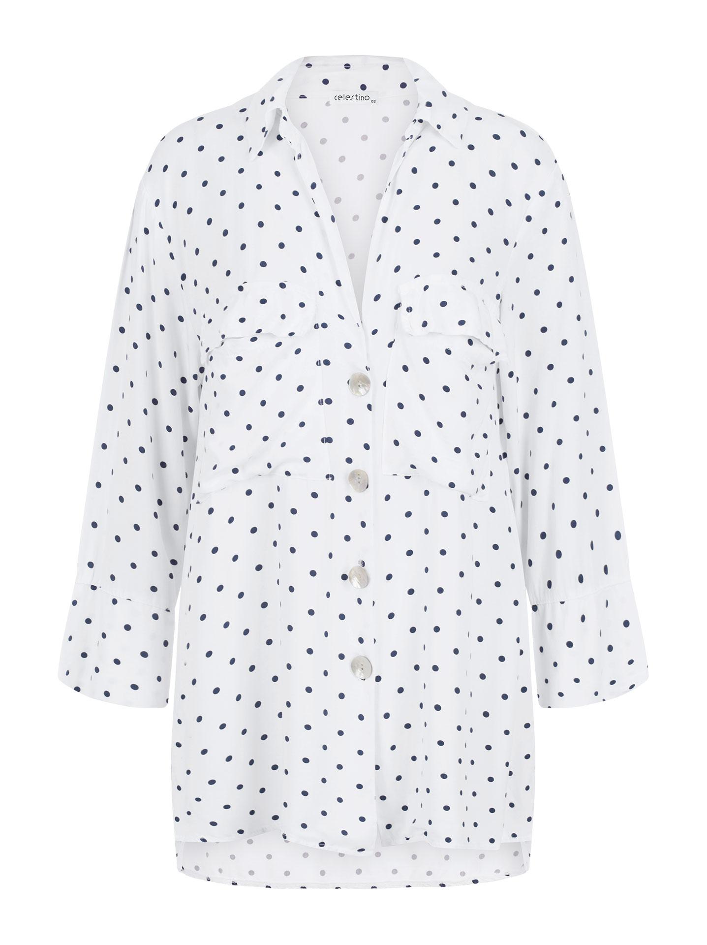 af88d3a7936 Πουά πουκάμισο με τσέπες σε λευκο, 11,95€   Celestino