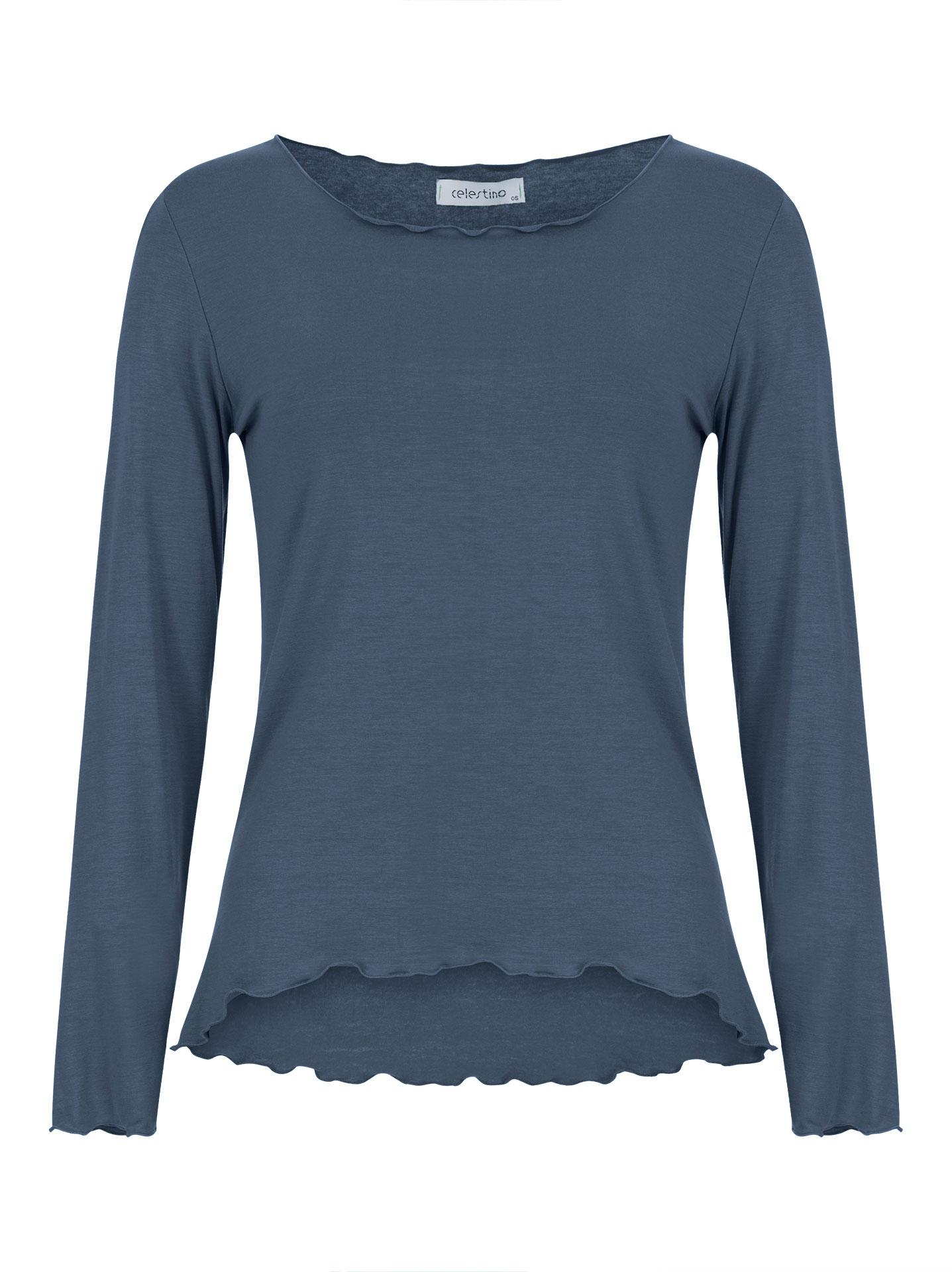 Μακρυμάνικη μπλούζα με βολάν σε μπλε ραφ 2078d047cc1