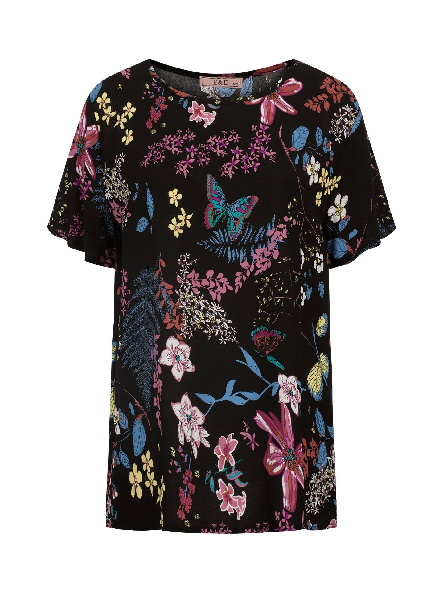 922938d217a9 Floral μπλούζα από βαμβάκι σε μαυρο
