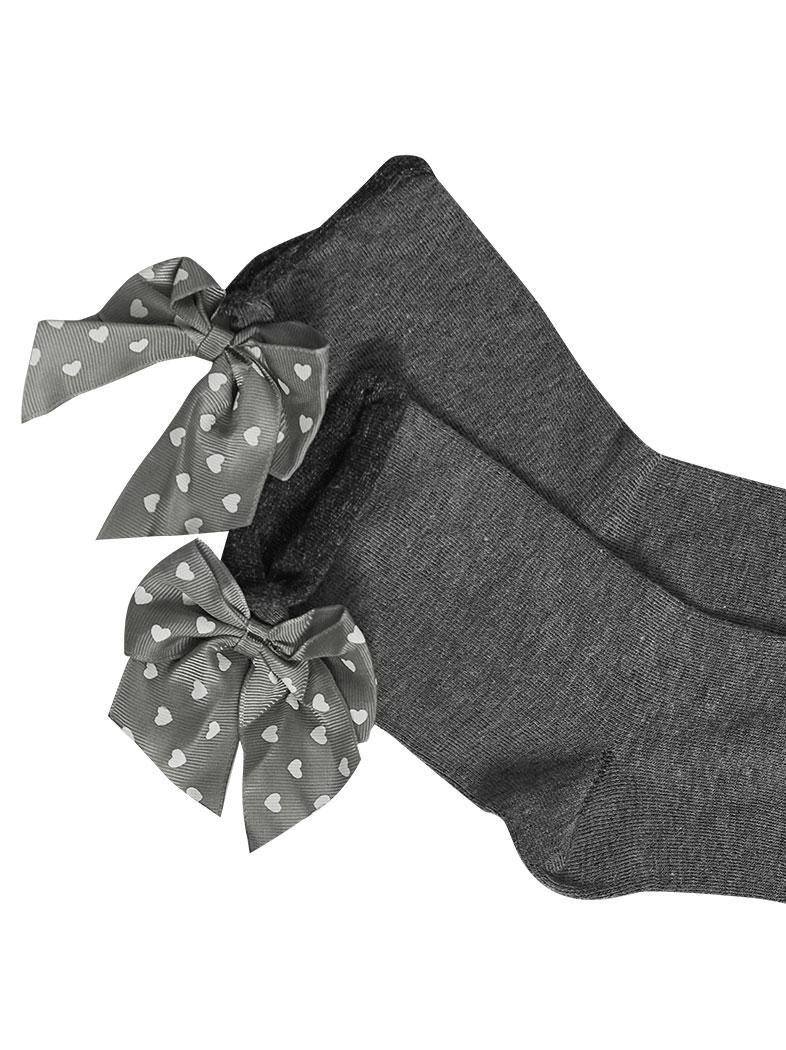 Grey Heart Socks with Heart Ribbon