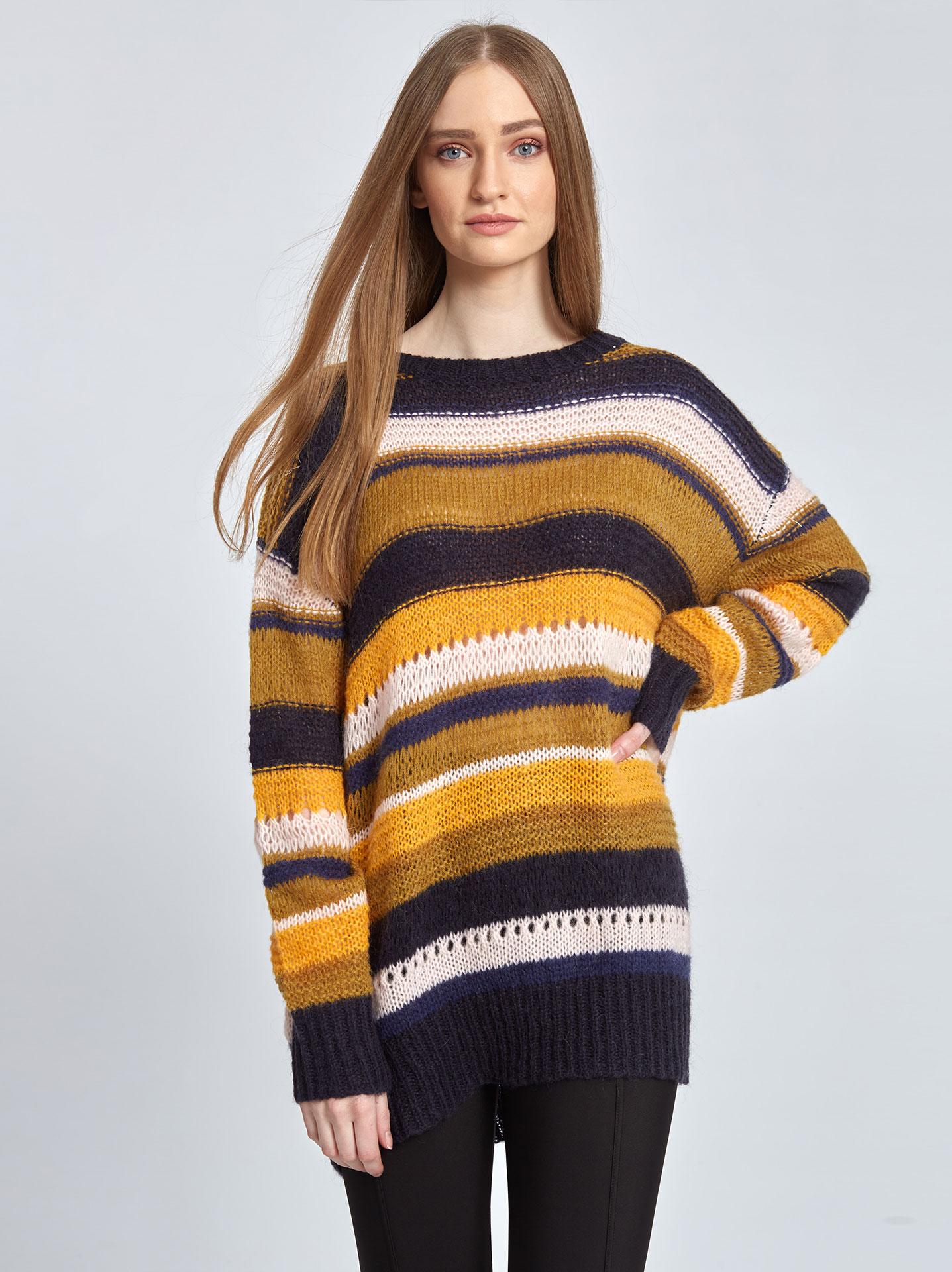 1bc9a0c69617 Ριγέ πλεκτό πουλόβερ σε κιτρινο