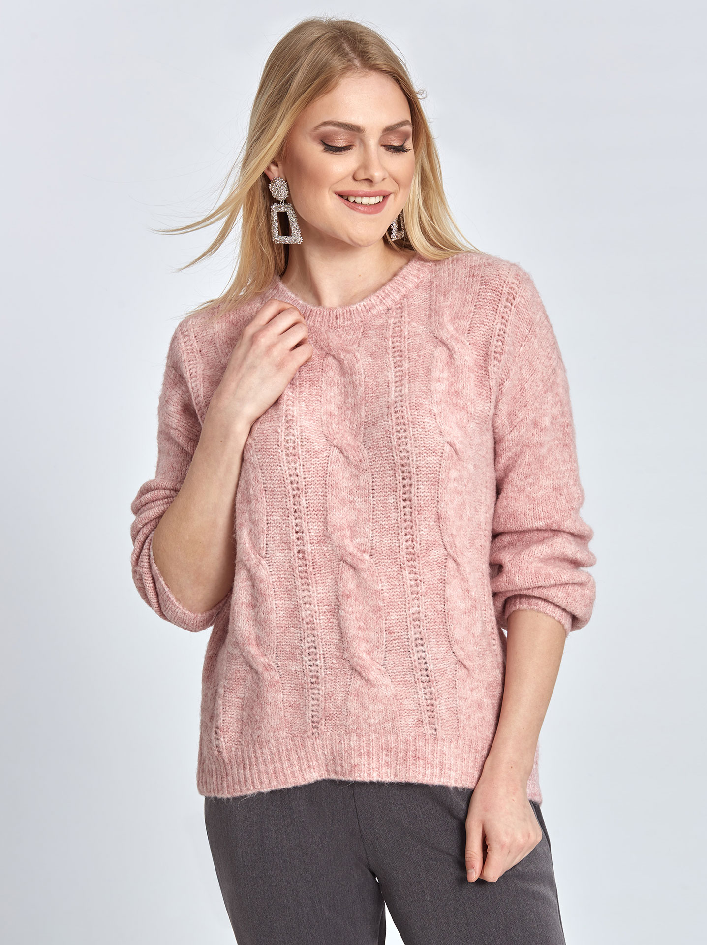 4c08600cc413 Πλεκτό πουλόβερ με σχέδιο σε ροζ