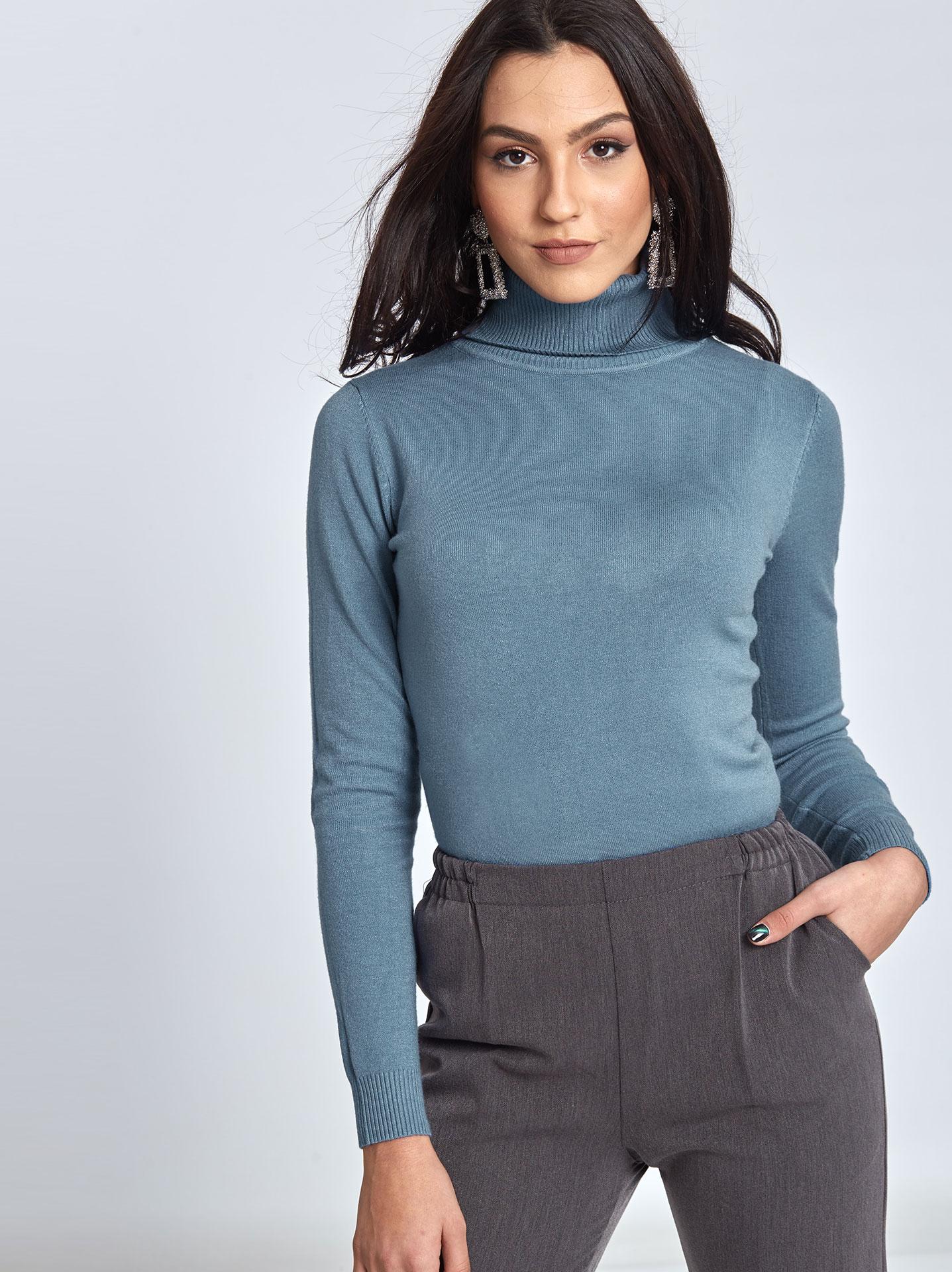 fd75013f3e78 Μακρύ ζιβάγκο πουλόβερ σε μπλε ραφ