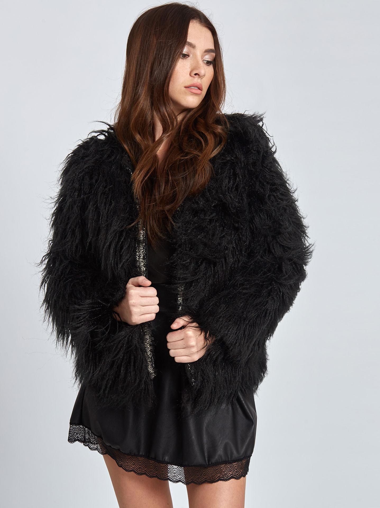 Παλτό από συνθετική γούνα σε μαυρο 3e80005cfd9