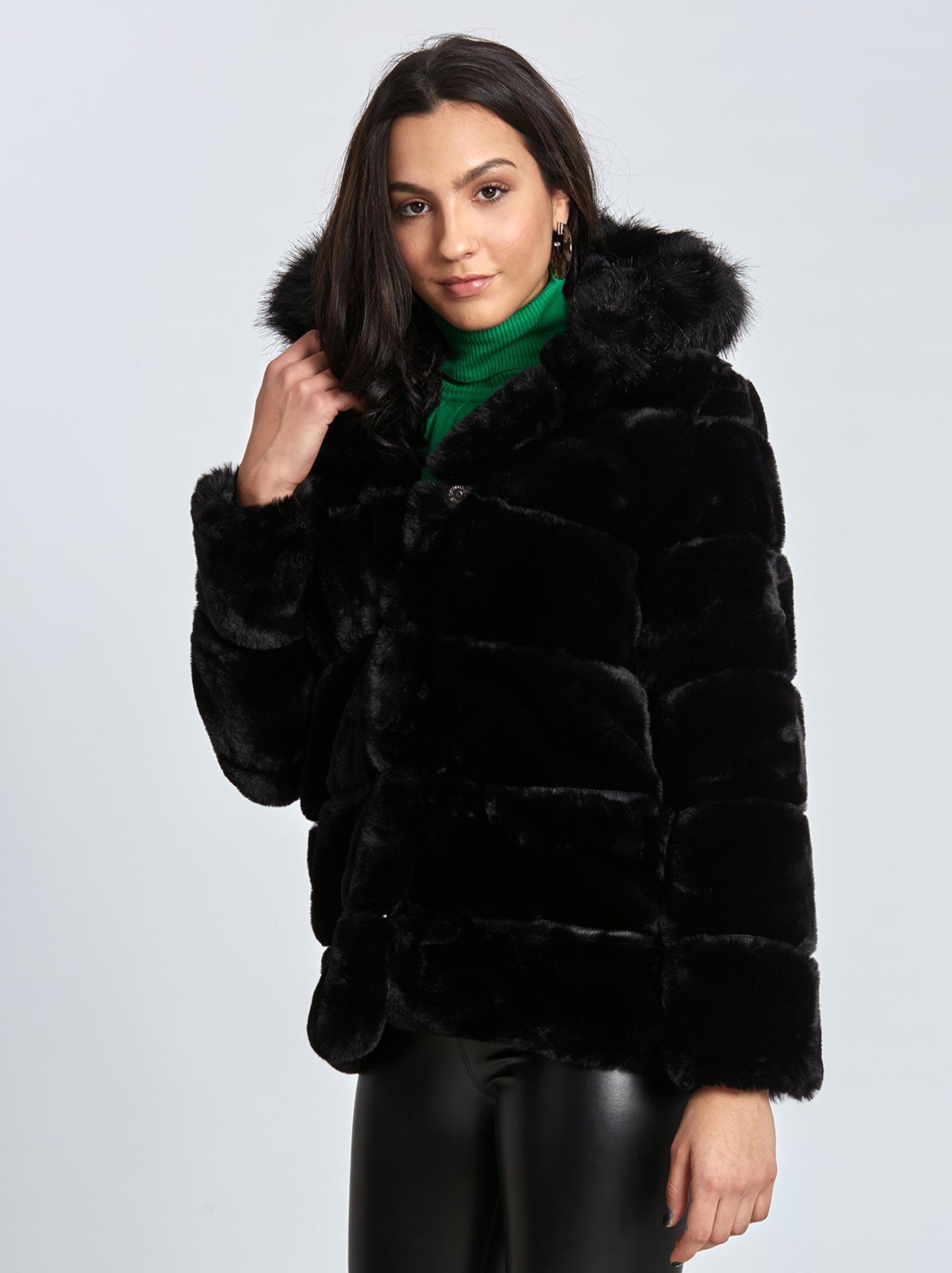 Παλτό από οικολογική-συνθετική γούνα σε μαυρο 0cbfdb1c7b7
