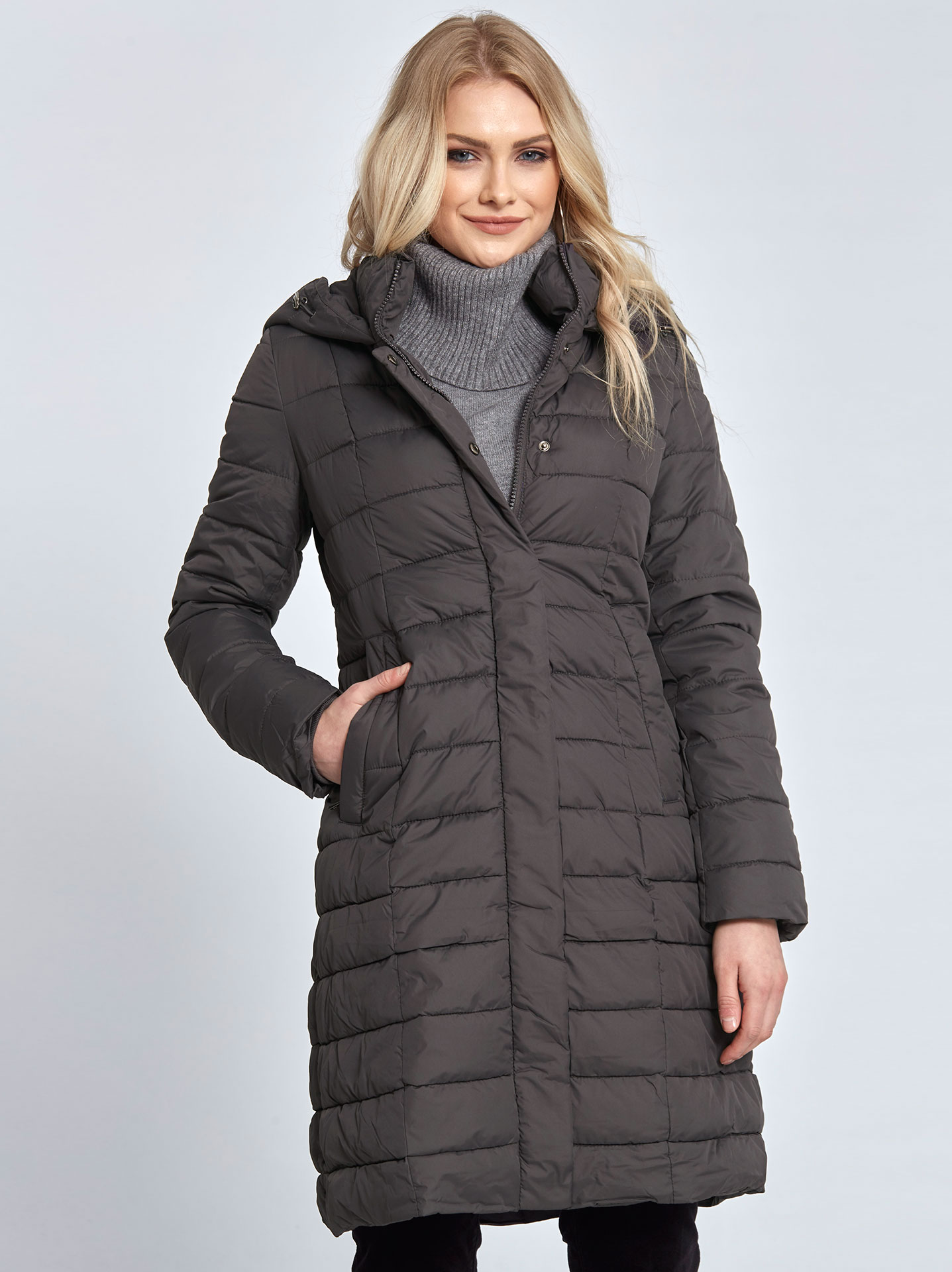 0b1bf1b83 Hooded puffer coat in dark grey