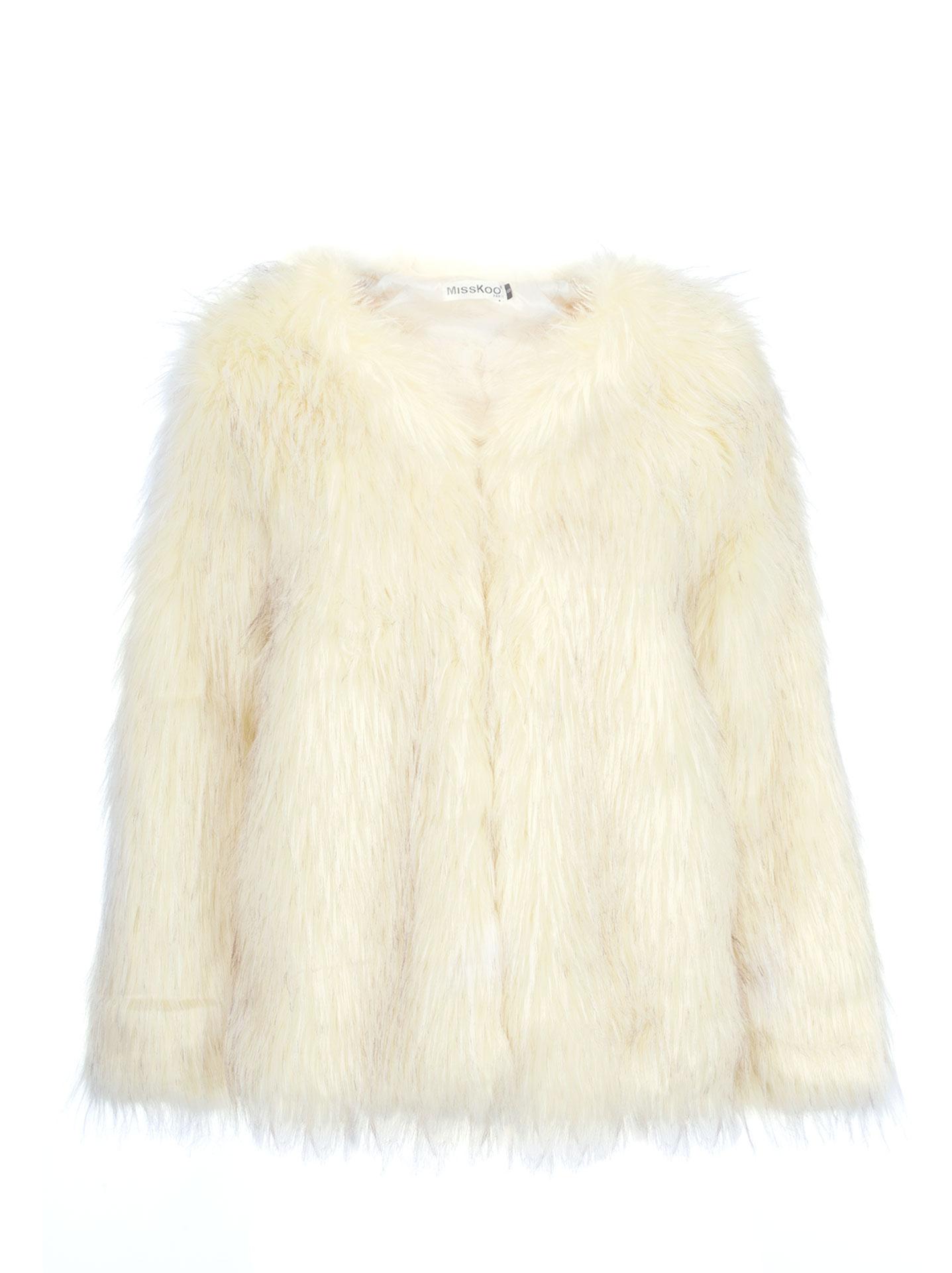 Σακάκι από συνθετική γούνα σε εκρου ccd5c510586