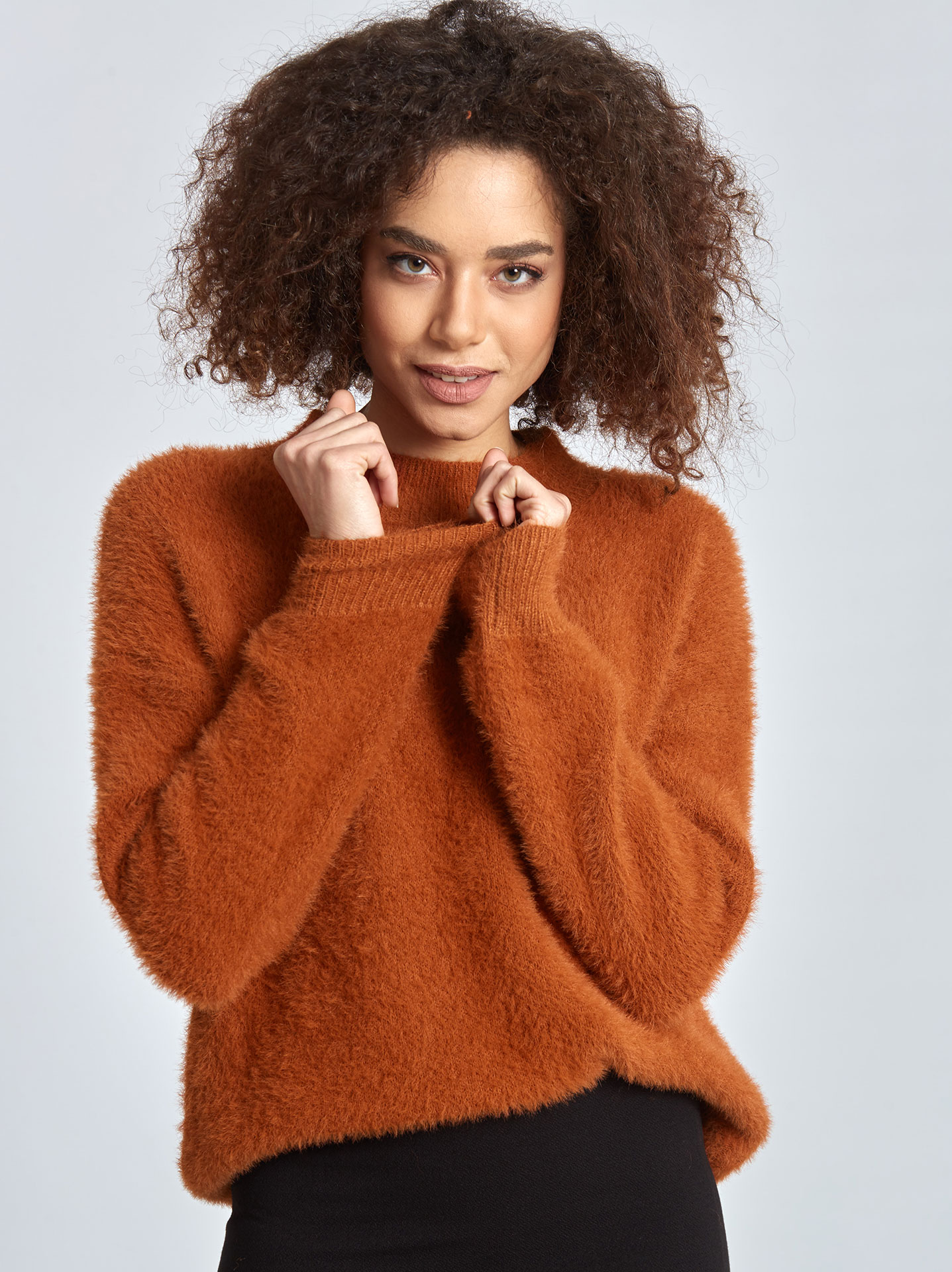 7e9878d38 Fluffy sweater in burnt orange