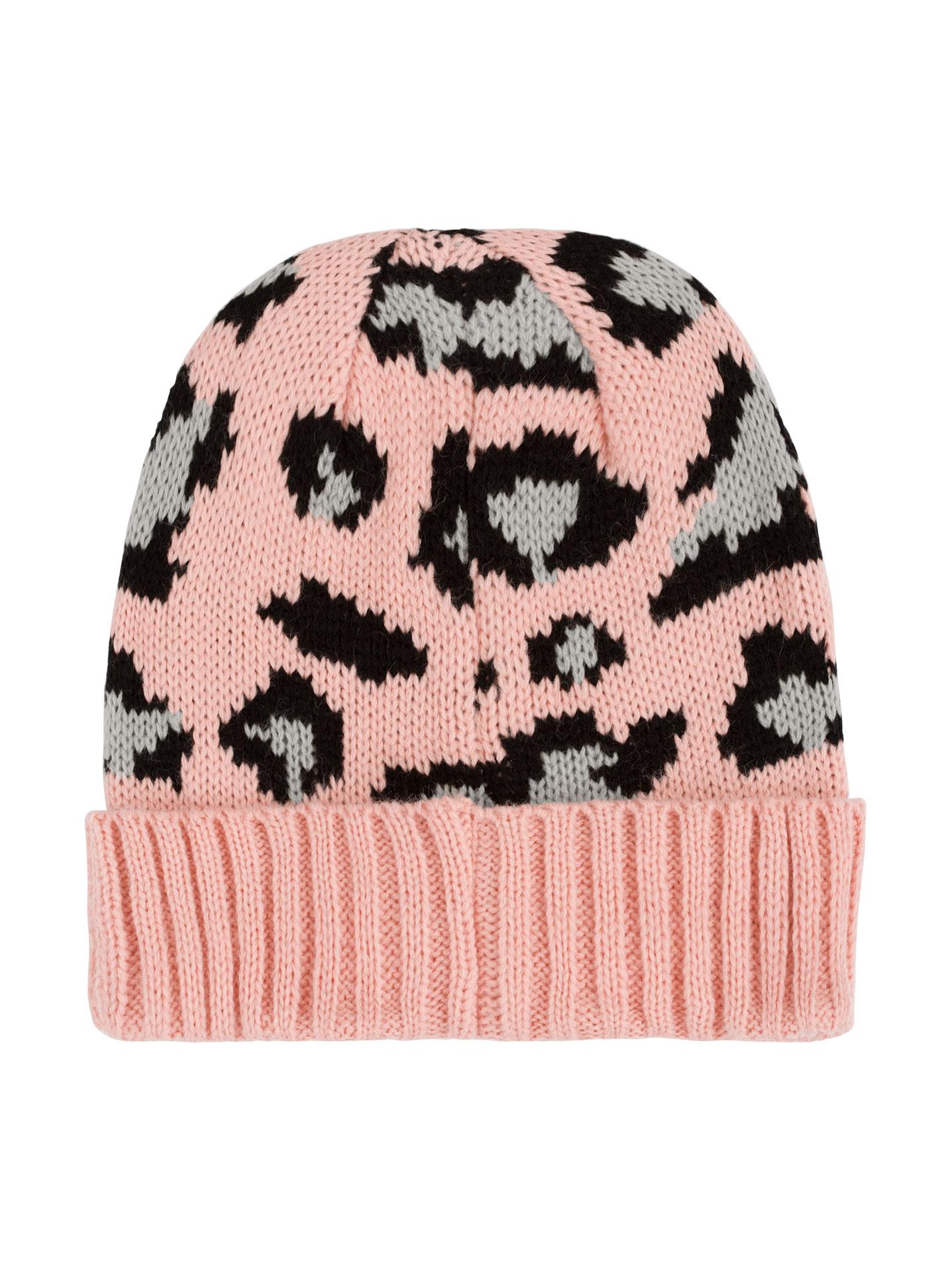 Leopard knitted beanie in pink dec2ed287ec