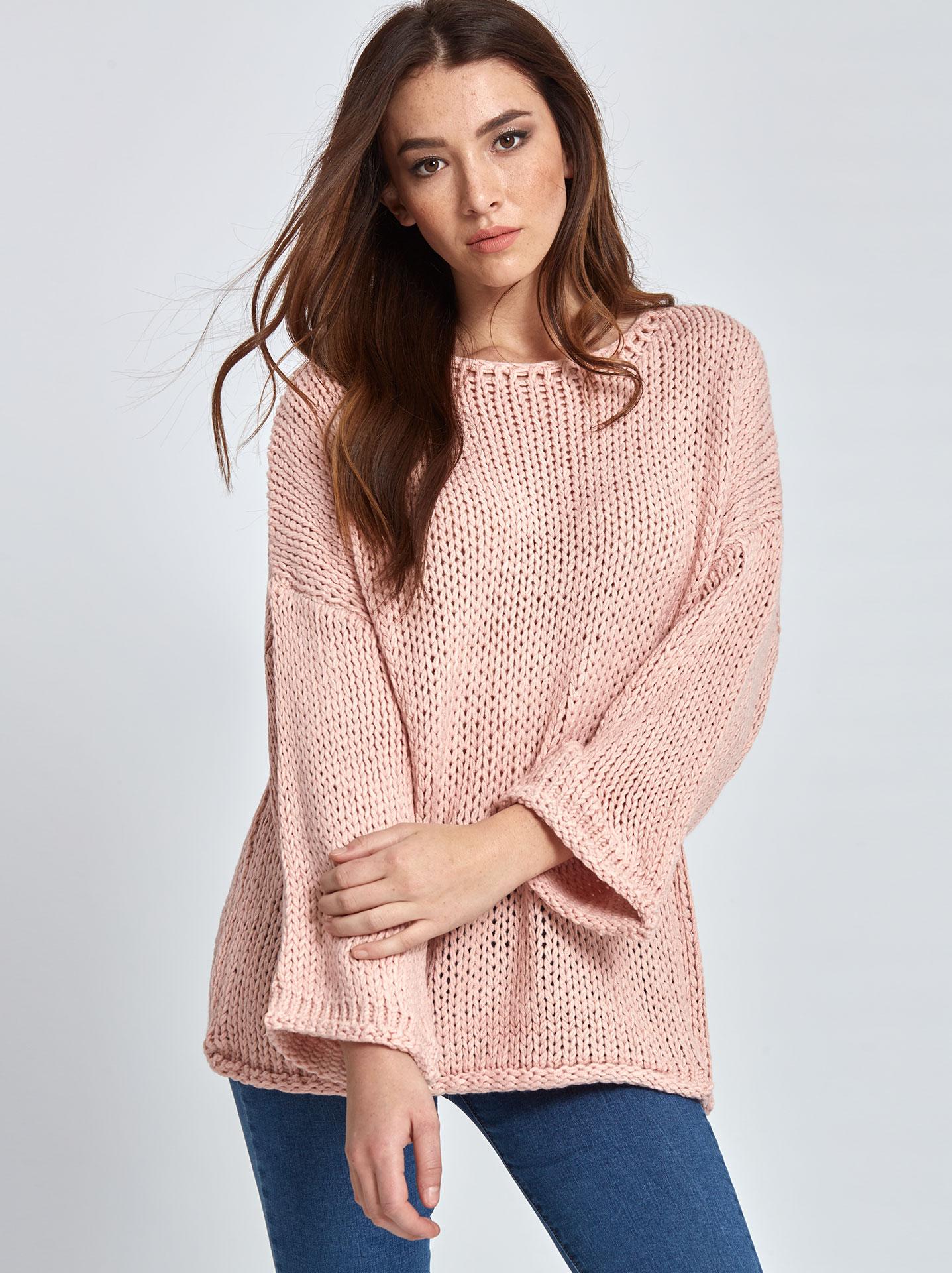 7c7118ee0082 Πλεκτό πουλόβερ σε ροζ