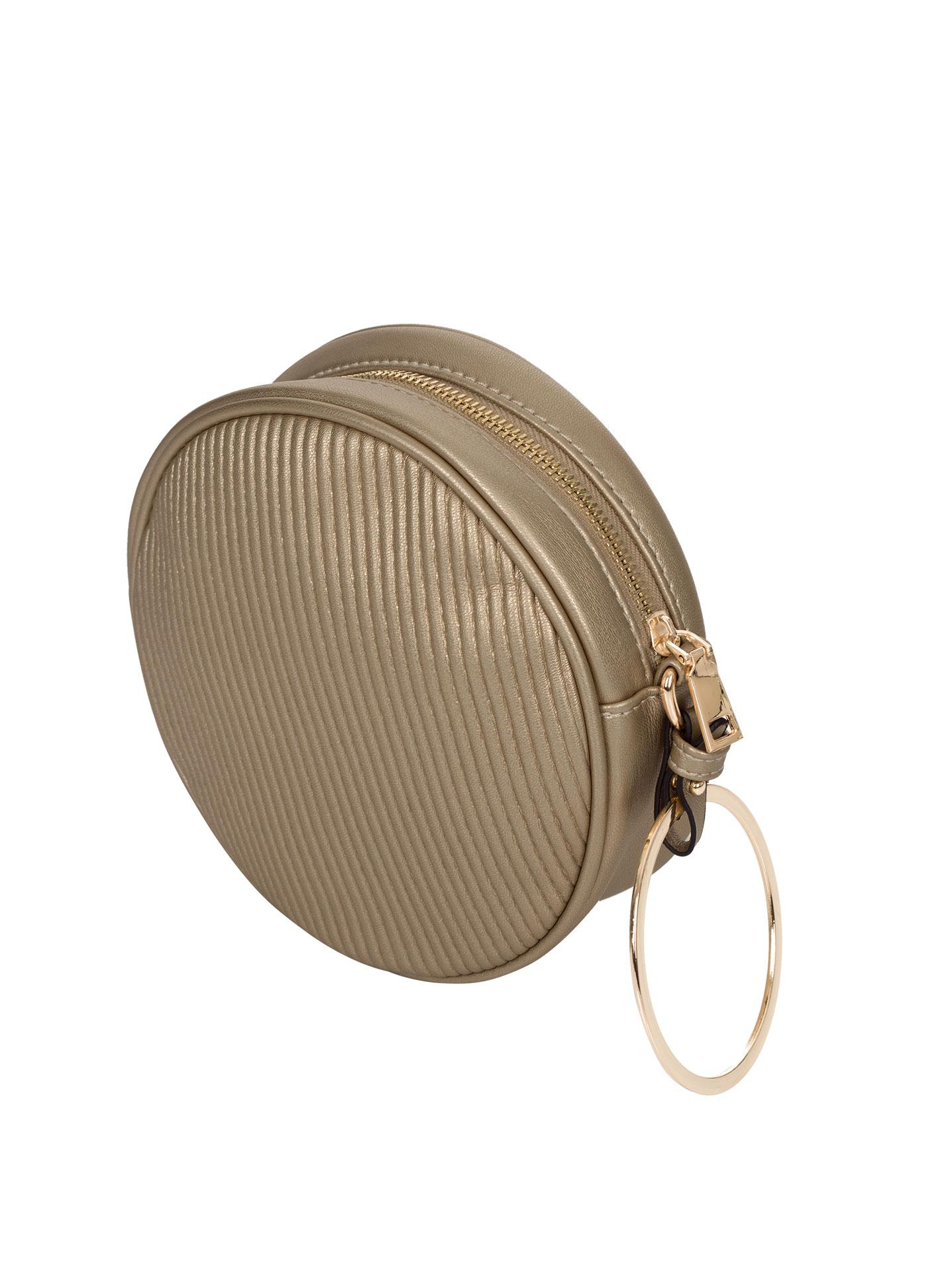 Στρογγυλή ανάγλυφη τσάντα με κρίκο σε μπρονζε 02a21a9e132