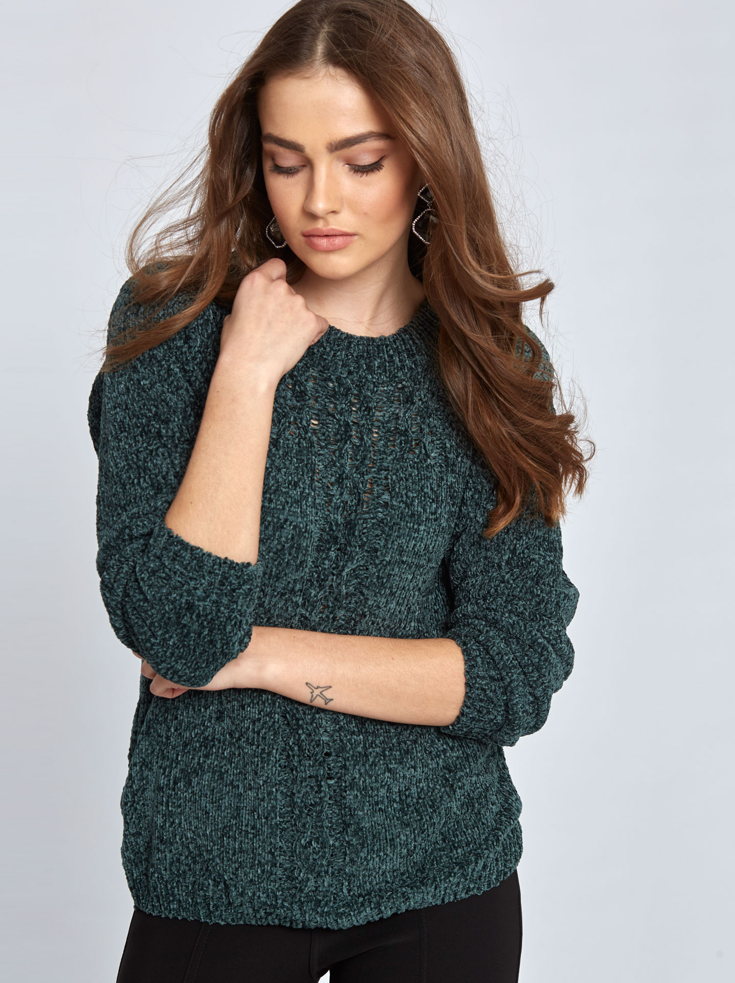 ee3b33be7545 Chenille πουλόβερ με σχέδιο σε πρασινο σκουρο