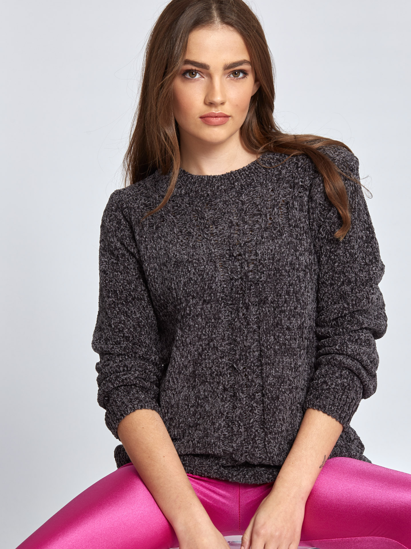 eaafbaa413a6 Chenille πουλόβερ με σχέδιο γκρι σκουρο