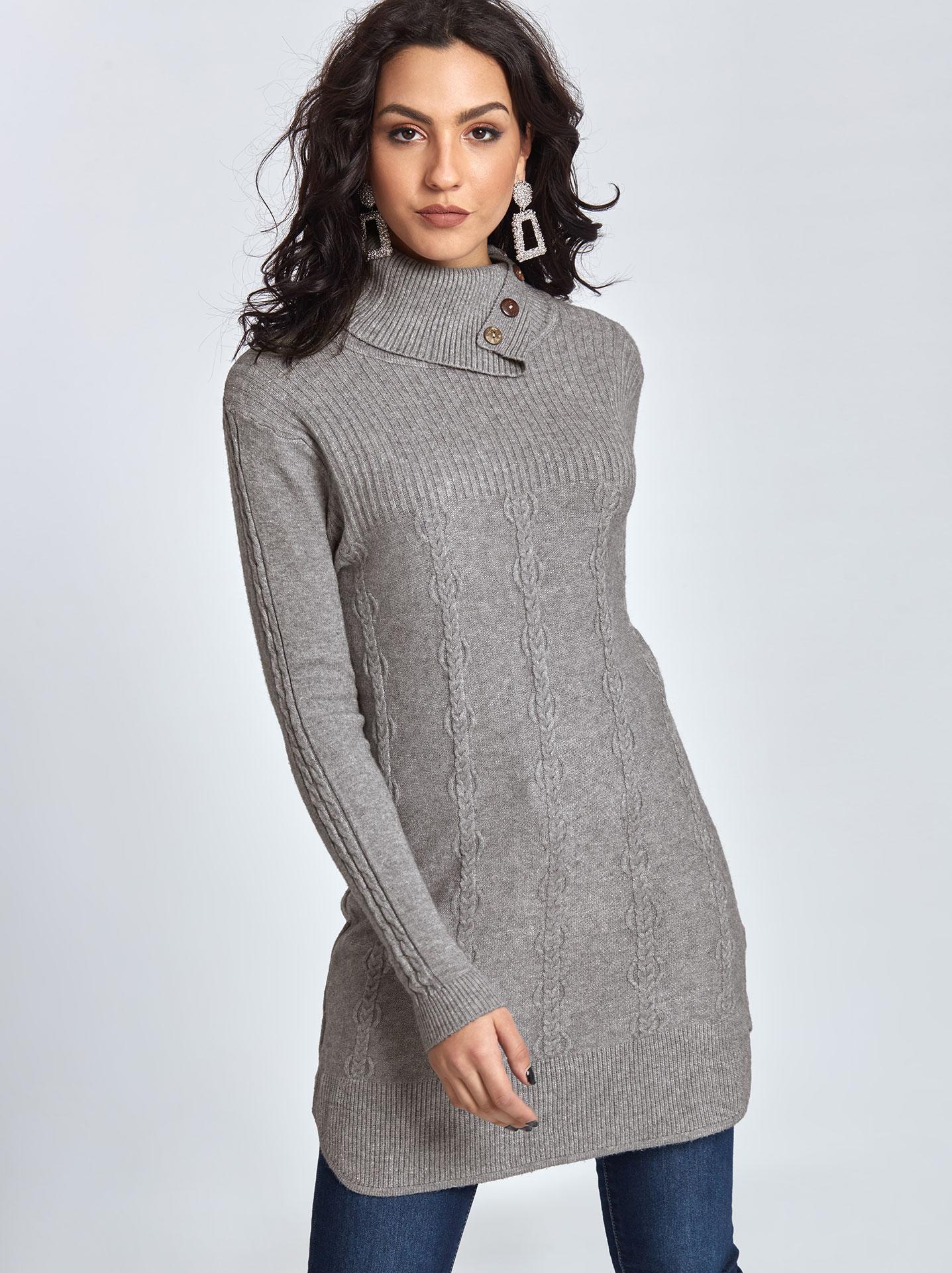 91e8fb88828b Μακρύ πουλόβερ με κουμπιά σε γκρι