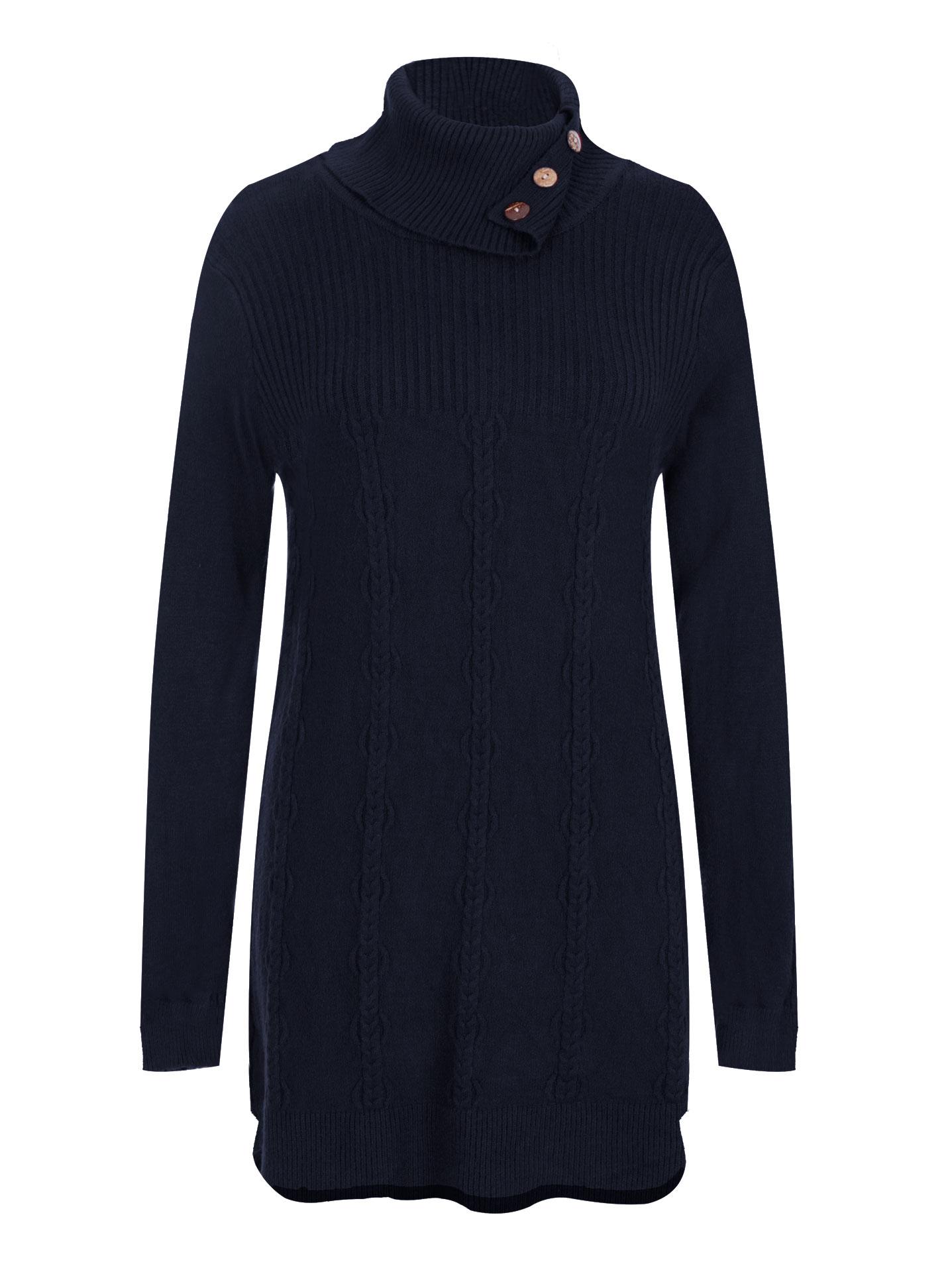 679ea3592237 Μακρύ πουλόβερ με κουμπιά σε σκουρο μπλε