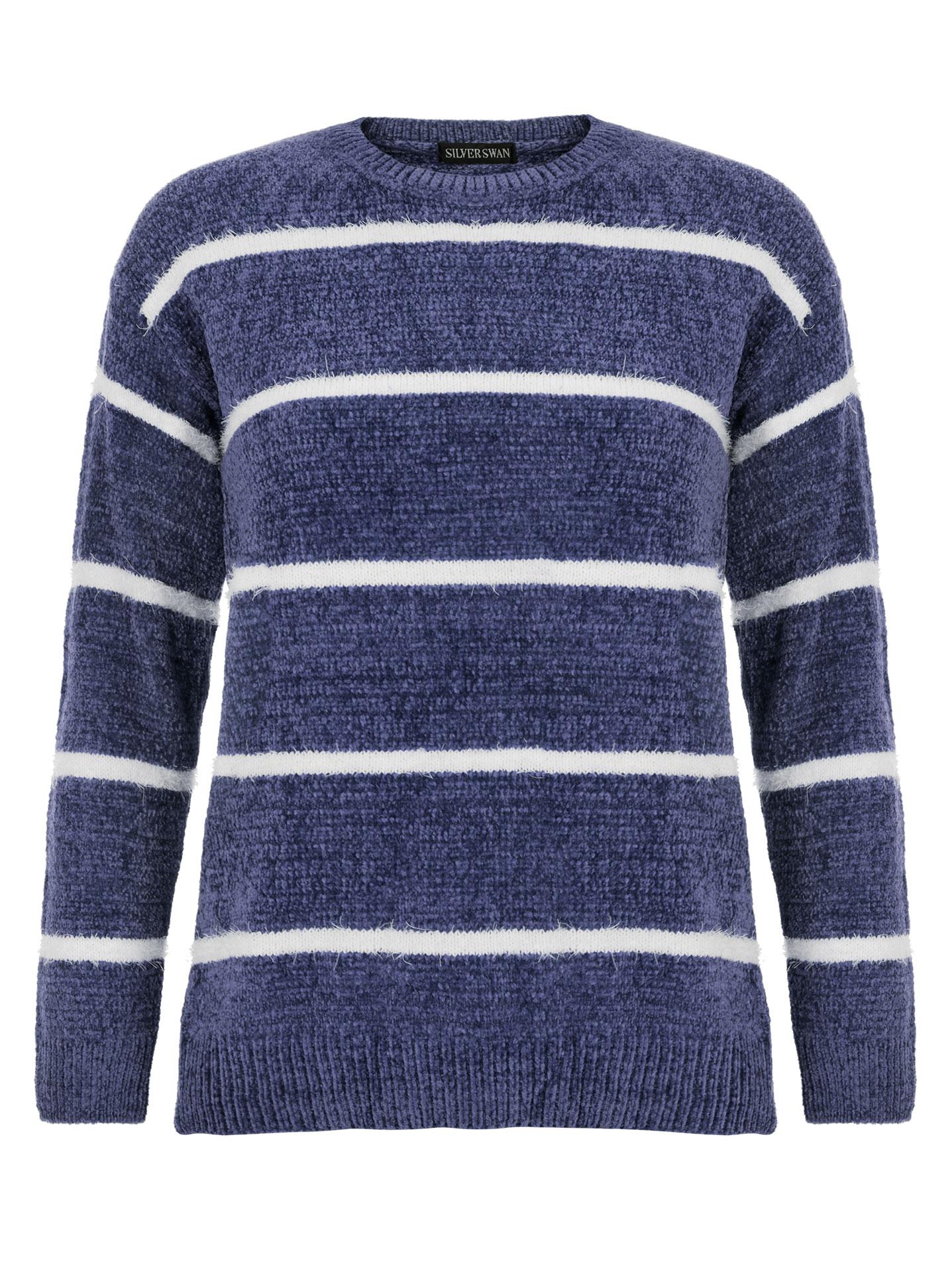 2cacec00bdef Chenille ριγέ πουλόβερ σε μπλε