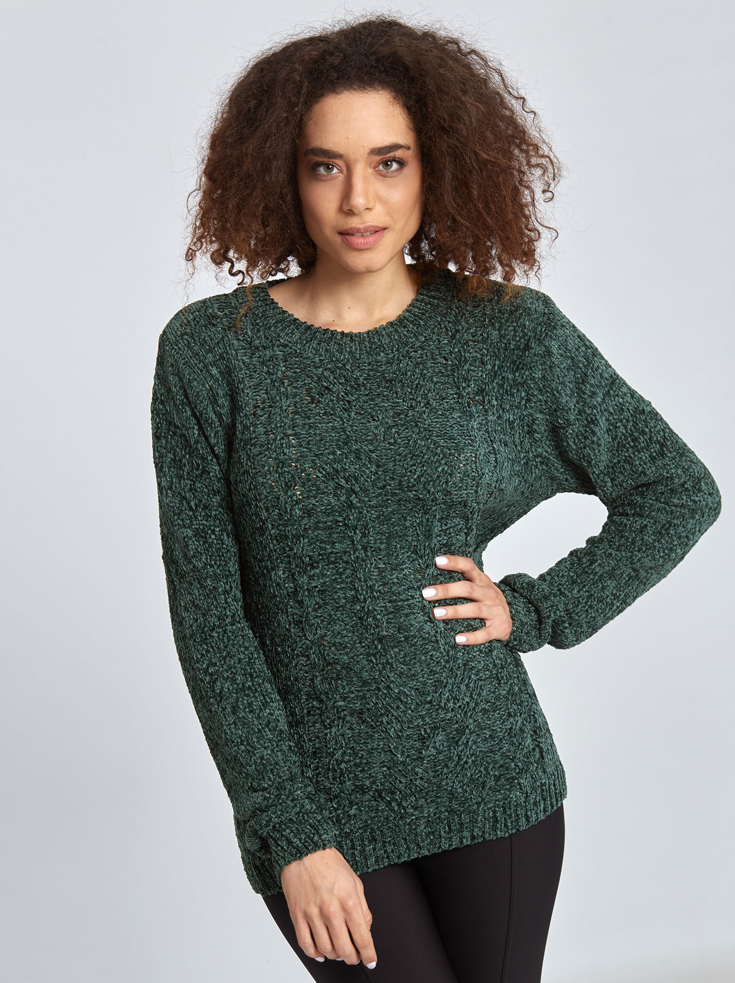 d30f5c1db01f Chenille πουλόβερ με σχέδιο σε πρασινο
