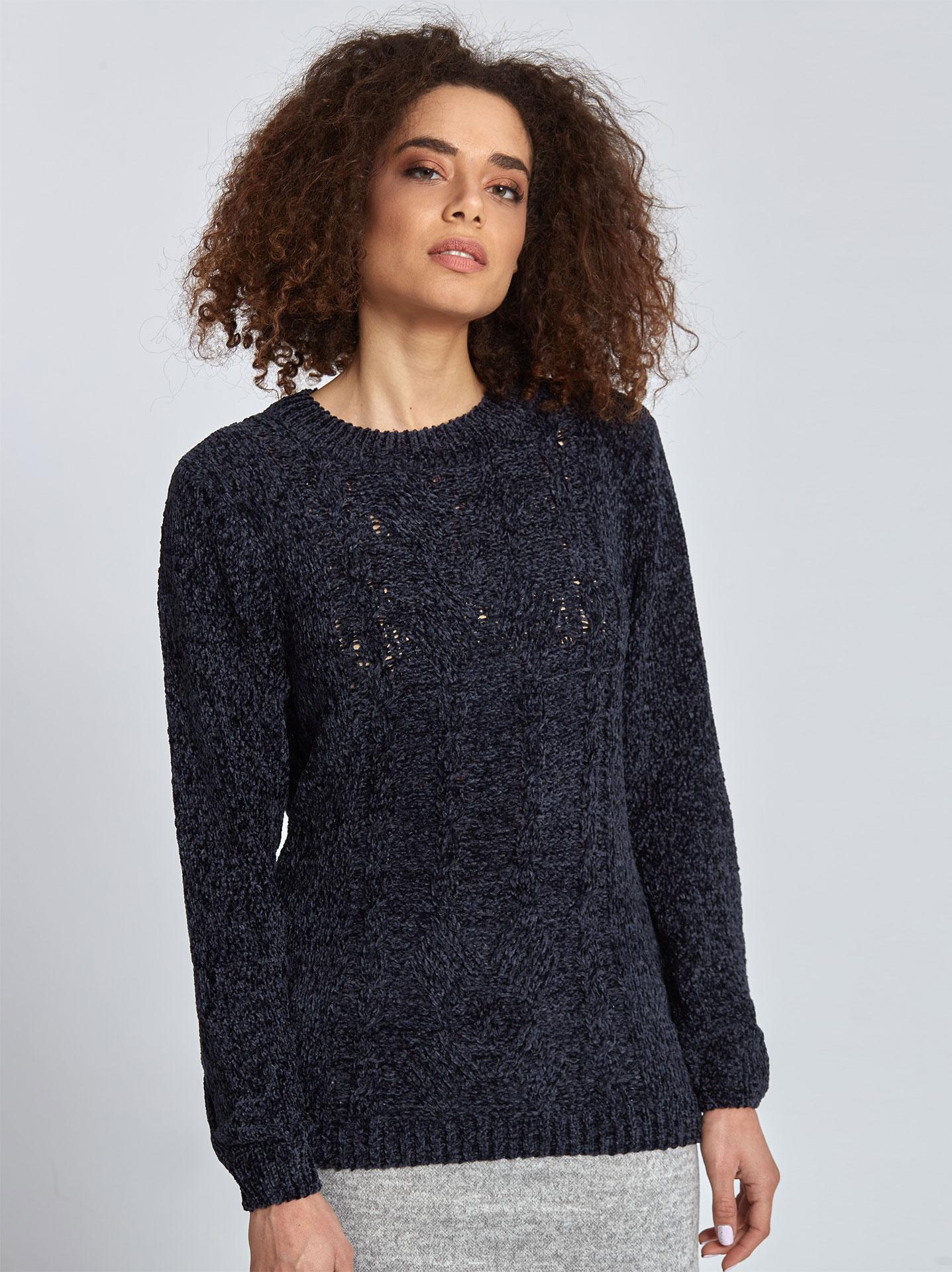 9db2969b618b Chenille πουλόβερ με σχέδιο σε σκουρο μπλε