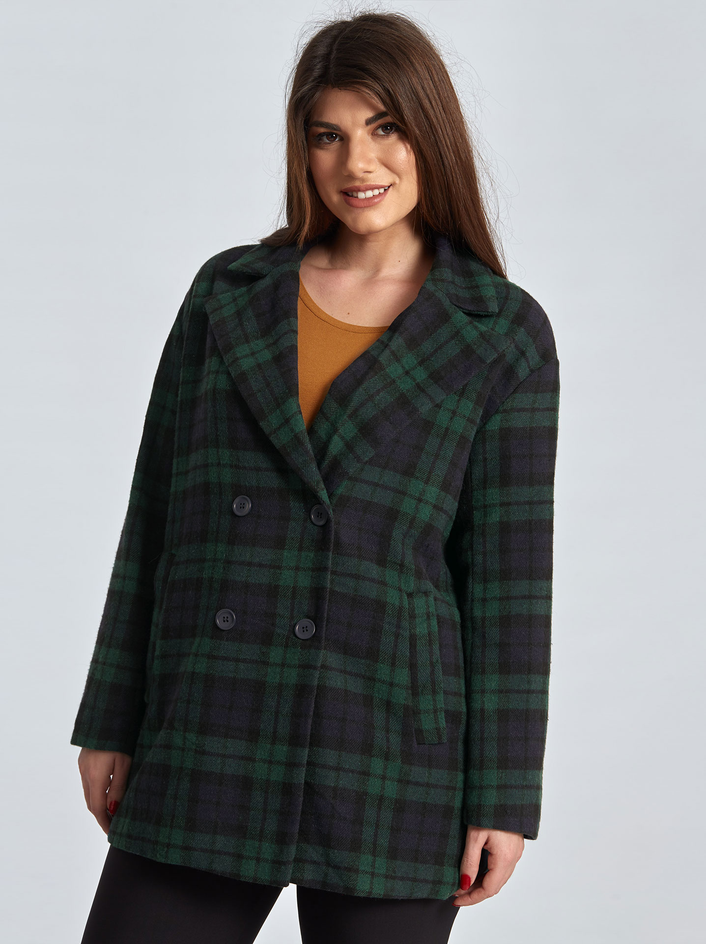 Oversized καρό παλτό curvy σε πρασινο e71a3979481