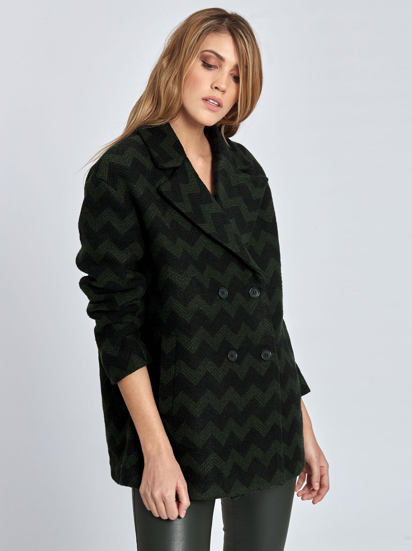 c2f6ff07138f Oversized παλτό με ζικ ζακ σχέδιο σε πρασινο σκουρο