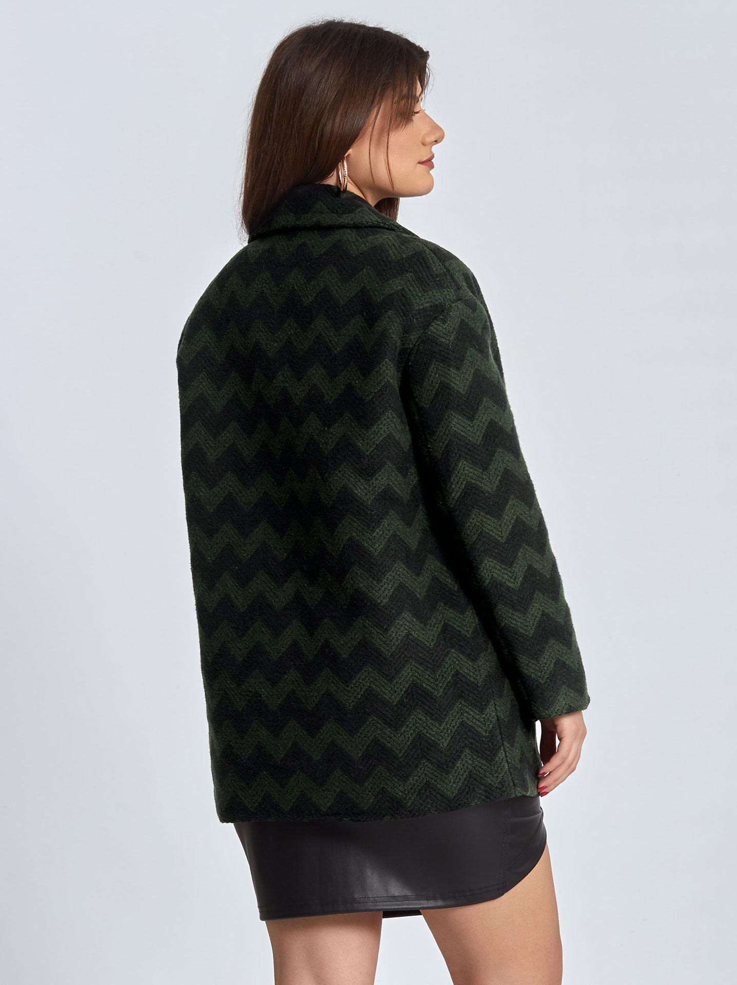39e563a68e95 Oversized παλτό με ζικ ζακ σχέδιο curvy σε πρασινο σκουρο