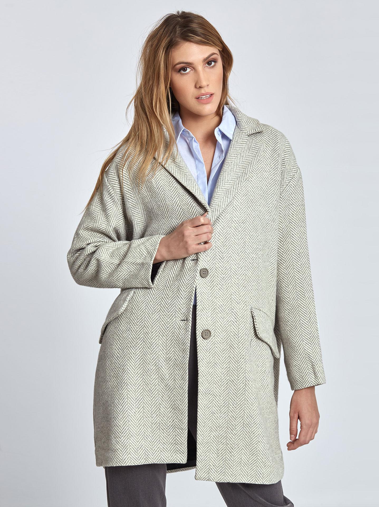 e7a693815975 Oversized ψαροκόκκαλο παλτό σε γκρι ανοιχτο